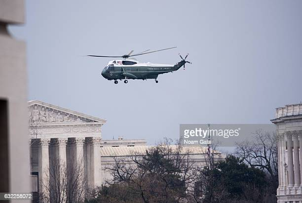 Former President Barack Obama departs via a helicopter during the Inauguration of PresidentElect Donald Trump on January 20 2017 in Washington DC