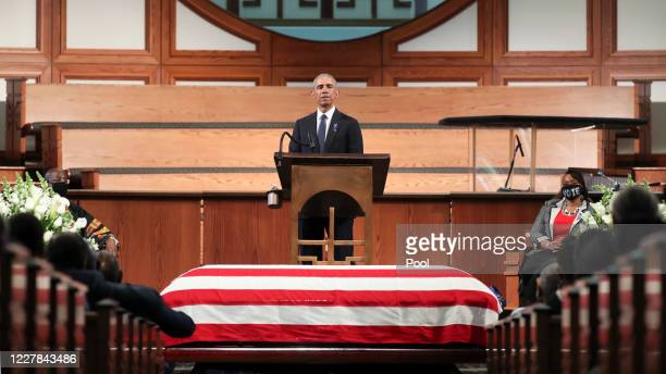 Former President Barack Obama gives the eulogy at the funeral service for the late Rep John Lewis at Ebenezer Baptist Church on July 30 2020 in...
