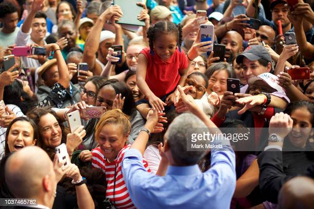 Former President Barack Obama greets supporters after he spoke during a campaign rally for Senator Bob Casey and Pennsylvania Governor Tom Wolf on...