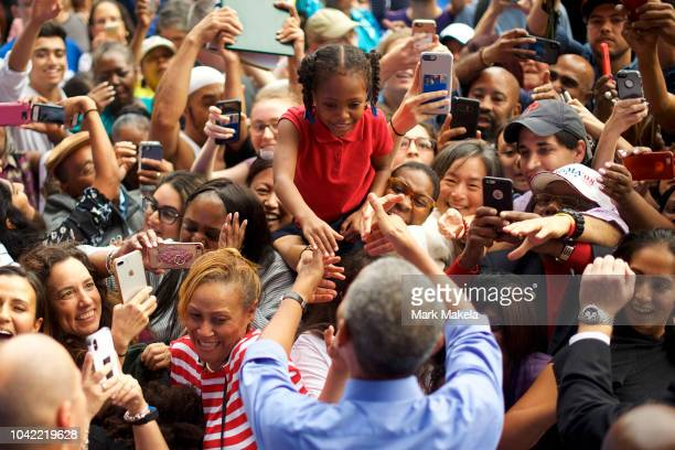 Former President Barack Obama greets supporters after speaking during a campaign rally for Senator Bob Casey and Pennsylvania Governor Tom Wolf on...