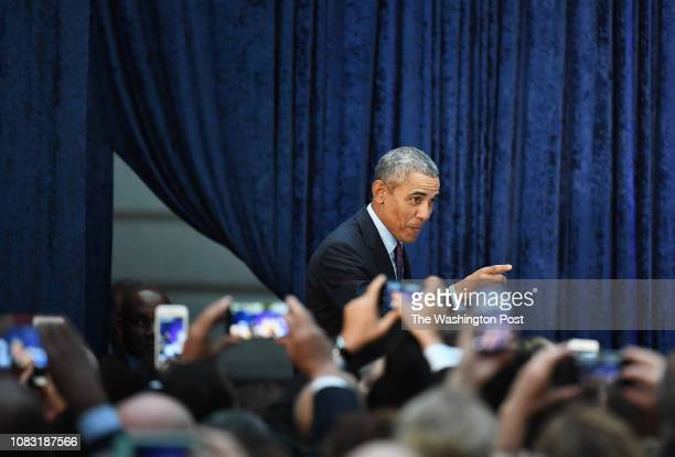 Former President Barack Obama is introduced as he and former First Lady Michelle Obama have their portraits unveiled at the Smithsonian National...