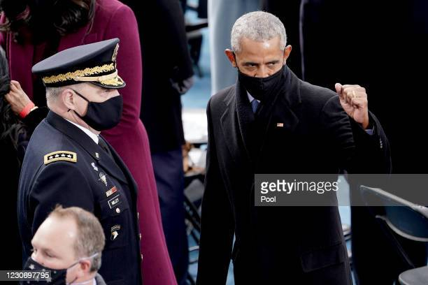 Former president Barack Obama is seen prior during the 59th Presidential Inauguration for President-elect Joe Biden and Vice President-elect Kamala...