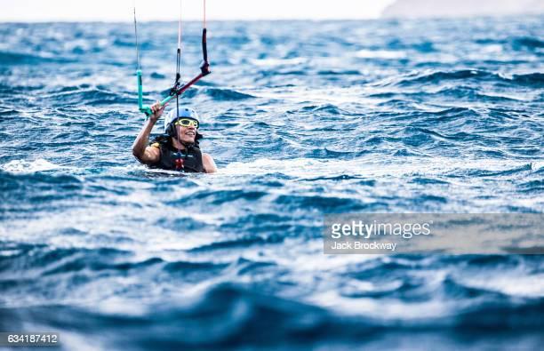 Former President Barack Obama kitesurfs at Richard Branson's Necker Island retreat on January 29 2017 in the British Virgin Islands Former President...