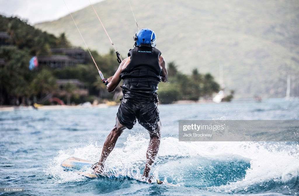 Former President Barack Obama kitesurfs at Richard Branson's Necker Island retreat on February 1, 2017 in the British Virgin Islands. Former President Obama and his wife Michelle have been on an extended vacation since leaving office on January 20.