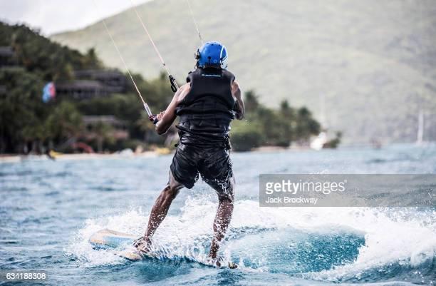 Former President Barack Obama kitesurfs at Richard Branson's Necker Island retreat on February 1 2017 in the British Virgin Islands Former President...