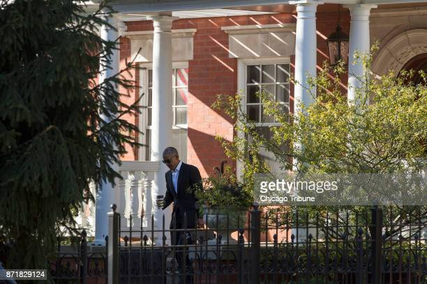 Former president Barack Obama leaves his Chicago residence before heading to jury duty at the Daley Center Wednesday Nov 8 in the Kenwood...