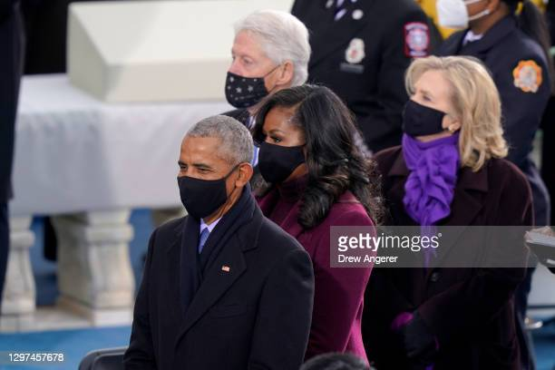 Former President Barack Obama , Michelle Obama, former President Bill Clinton and former Secretary of State Hillary Clinton attend the inauguration...