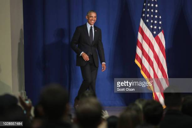 Former President Barack Obama prepares to speak to students at the University of Illinois where he accepted the Paul H Douglas Award for Ethics in...
