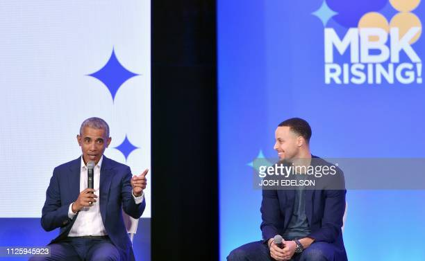 Former President Barack Obama speaks alongside Golden State Warriors basketball player Stephen Curry during the MBK Rising! My Brother's Keeper...