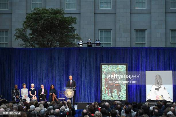 Former President Barack Obama speaks as he and former First Lady Michelle Obama have their portraits unveiled at the Smithsonian National Portrait...