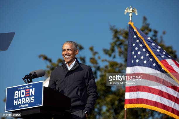 Former President Barack Obama speaks at a Drive-in Mobilization Rally to get out the vote for Georgia Senate candidates on November 2, 2020 in...