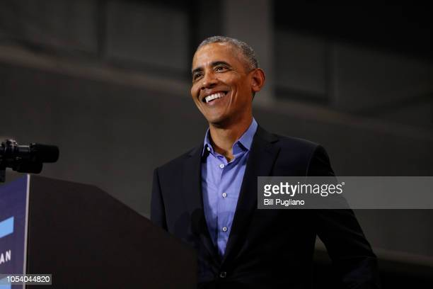 Former President Barack Obama speaks at a rally to support Michigan democratic candidates at Detroit Cass Tech High School on October 26, 2018 in...
