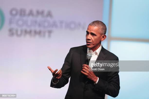 Former president Barack Obama speaks at the inaugural Obama Foundation Summit on October 31 2017 in Chicago Illinois The twoday event is scheduled to...