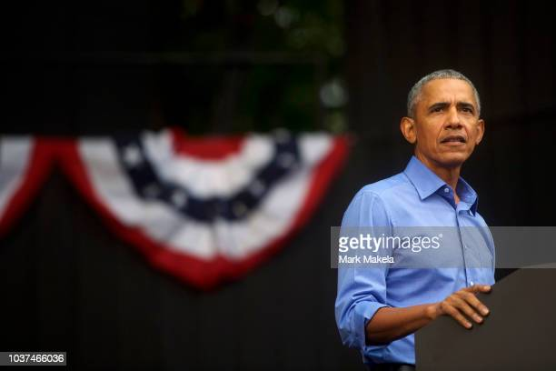 Former President Barack Obama speaks during a campaign rally for Senator Bob Casey and Pennsylvania Governor Tom Wolf on September 21 2018 in...