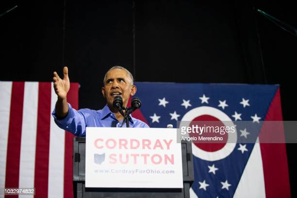 Former President Barack Obama speaks during a campaign rally for Ohio Gubernatorial candidate Richard Cordray at CMSD East Professional Center...