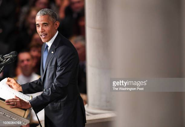 Former President Barack Obama speaks during the funeral service at the National Cathedral for Sen John S McCain a sixterm senator from Arizona and...