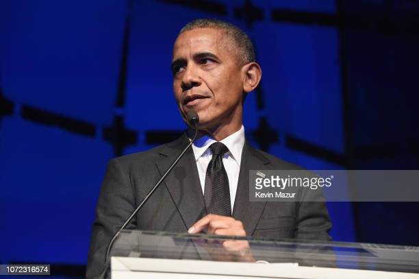 Former President Barack Obama speaks onstage during the 2019 Robert F Kennedy Human Rights Ripple Of Hope Awards on December 12 2018 in New York City