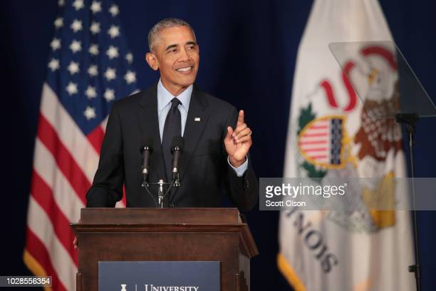 Former President Barack Obama speaks to students at the University of Illinois where he accepted the Paul H Douglas Award for Ethics in Government on...