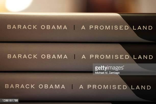 Former President Barack Obama's memoir is seen on display at the Greenlight Bookstore in the Flatbush neighborhood of Brooklyn on November 17, 2020...
