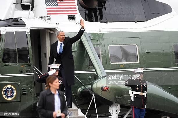 US Former President Barrak Obama leaves the Capitol Hill on the Marine One helicopter after the swearingin ceremony for Donald Trump as 45th...