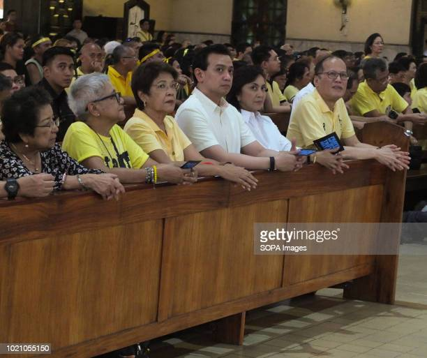 Former President Benigno Aquino Noynoy Vice President Leni Robredo Senator Antonio Trillanes seen during the mass A Church Mass commemorating the...
