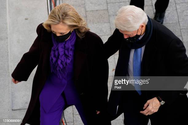 Former President Bill Clinton and former Secretary of State Hillary Clinton arrive at the U.S. Capitol ahead of the inauguration of President Joe...