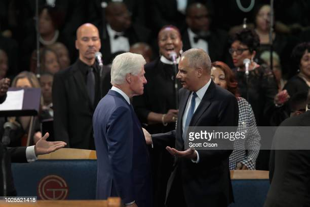 Former President Bill Clinton and former US Attorney General Eric Holder attend the funeral for Aretha Franklin at the Greater Grace Temple on August...