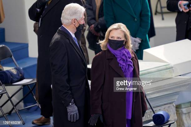 Former President Bill Clinton and Hillary Clinton arrive at the inauguration of U.S. President-elect Joe Biden on the West Front of the U.S. Capitol...