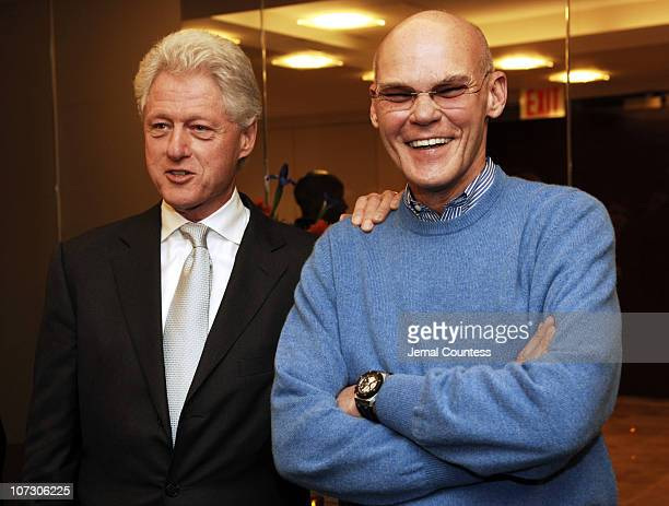 Former President Bill Clinton and James Carville during Former President Bill Clinton Hosts a Book Party for James Carville and Paul Begala's New...
