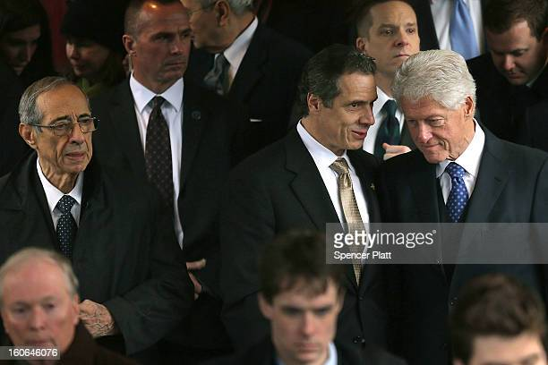 Former President Bill Clinton and New York Gov Andrew Cuomo exit funeral services for former New York Mayor Ed Koch at Manhattan's Temple EmanuEl on...