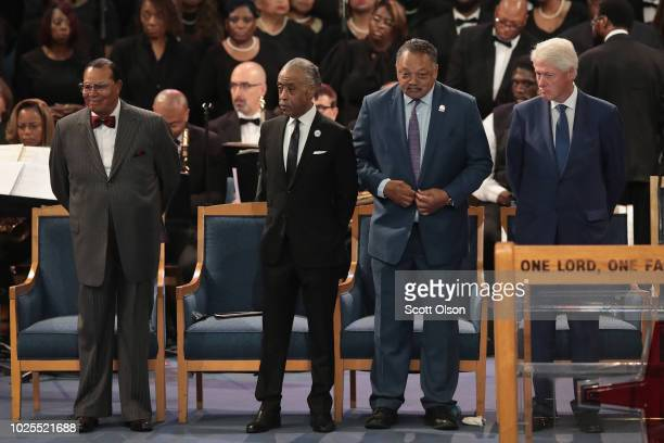 Former President Bill Clinton and religious leaders Louis Farrakhan Al Sharpton and Jesse Jackson attend the funeral for Aretha Franklin at the...