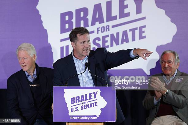Former President Bill Clinton and Sen Tom Harkin campaign with US Senate Democratic candidate Rep Bruce Braley at the Electric Park Ballroom November...