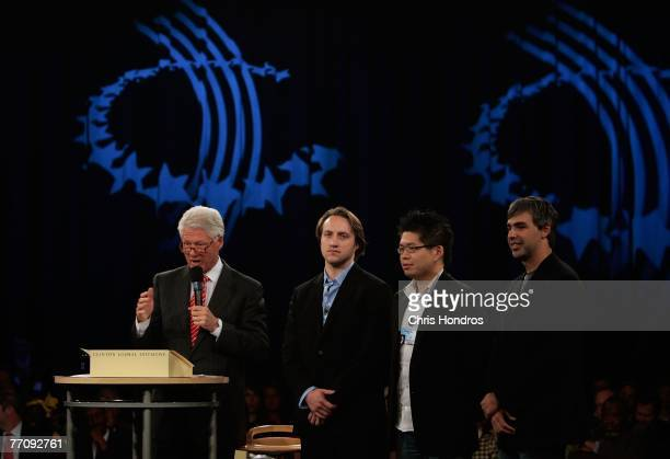 Former president Bill Clinton appears with the founders of YouTube Chad Hurley and Steve Chen and with the cofounder of Google Larry Page on the...