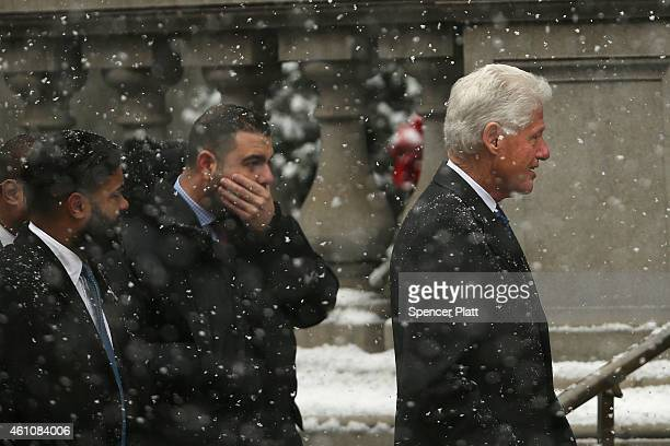 Former president Bill Clinton arrives at St Ignatius Loyola Church for the funeral of former threeterm governor Mario Cuomo on January 6 2015 in New...