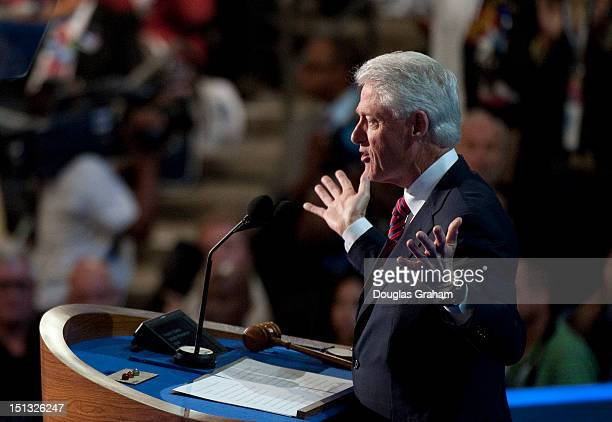 Former President Bill Clinton at the Democratic National Convention in the Time Warner Cable Arena in Charlotte North Carolina The Democratic...