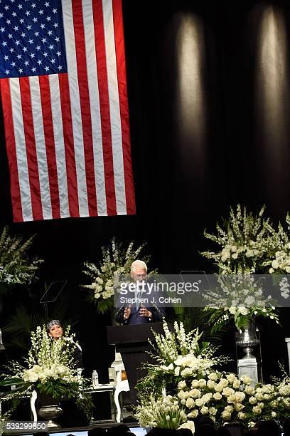 Former President Bill Clinton attends the Muhammad Ali Memorial Service at KFC YUM! Center on June 10, 2016 in Louisville, Kentucky.
