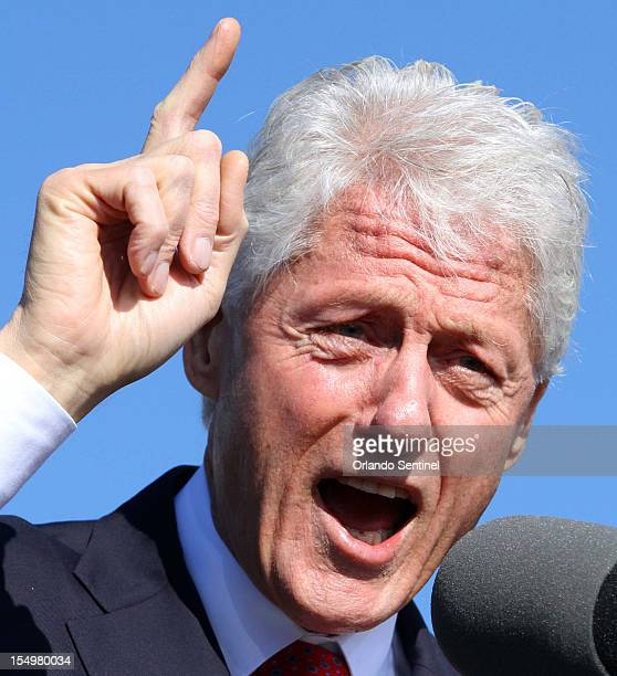 Former president Bill Clinton delivers remarks during a rally at the University of Central Florida Monday October 29 2012