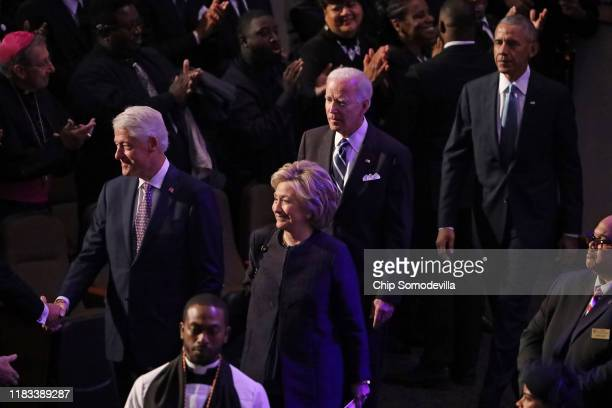 Former President Bill Clinton former first lady and Secretary of State Hillary Clinton former Vice President Joe Biden and former President Barack...