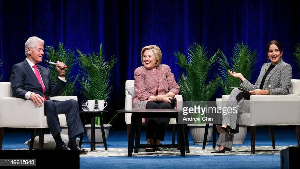 Former President Bill Clinton former Secretary of State and presidential candidate Hillary Clinton and moderator Sophia Bush on stage during An...