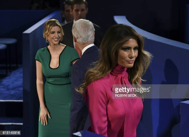 Former president Bill Clinton greets Republican presidential candidate Doanld Trump's family daughter Ivanka Trump Son Eric Trump and wife Melania...