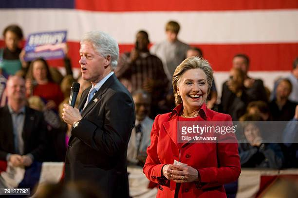 Former President Bill Clinton introduces at a town hall meeting his wife Democratic presidential hopeful Sen Hillary Clinton following the Nevada...