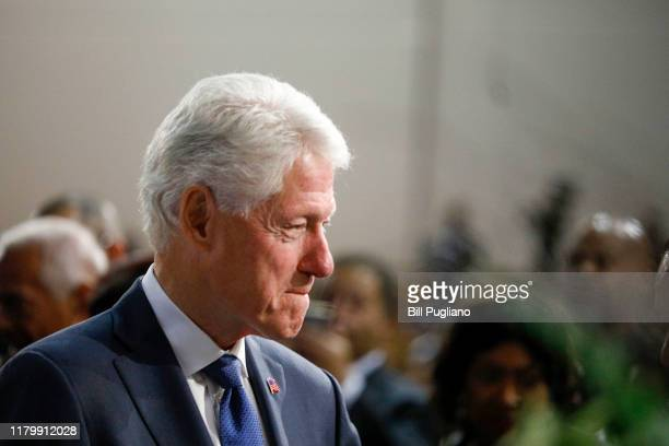 Former President Bill Clinton is shown at the funeral of former US Congressman John Conyers Jr at Greater Grace Temple on November 4 2019 in Detroit...