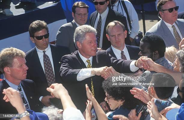 Former President Bill Clinton meets the crowd at a Santa Barbara City College campaign rally in 1996, Santa Barbara, California