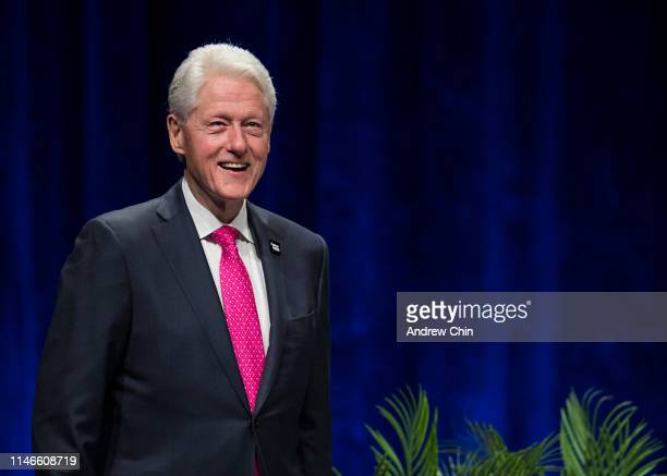 Former President Bill Clinton on stage during An Evening with President Bill Clinton and former Secretary of State Hillary Rodham Clinton at Rogers...