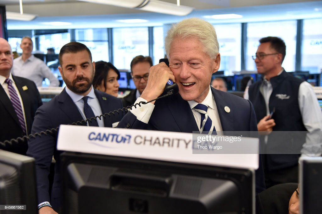 Former President Bill Clinton participates in Annual Charity Day hosted by Cantor Fitzgerald, BGC and GFI at Cantor Fitzgerald on September 11, 2017 in New York City.