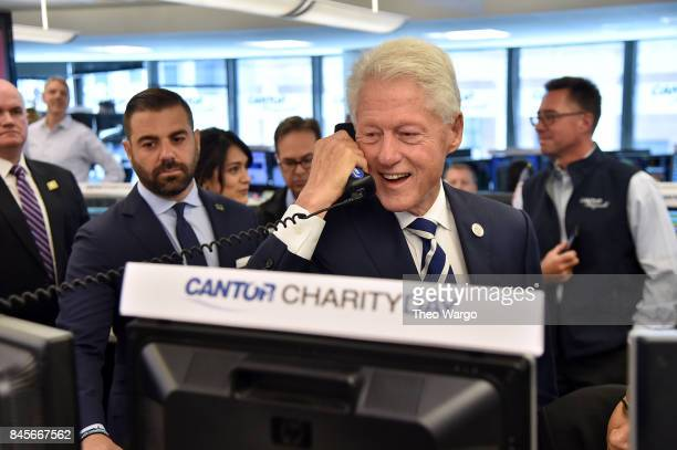 Former President Bill Clinton participates in Annual Charity Day hosted by Cantor Fitzgerald BGC and GFI at Cantor Fitzgerald on September 11 2017 in...