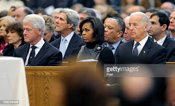 Former President Bill Clinton Sen John Kerry first lady Michelle Obama and Vice President Joe Biden attend the funeral service for Sargent Shriver at...