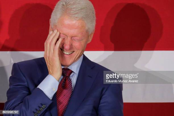 Former president Bill Clinton smiles as Democratic candidate Phil Murphy who is running for the governor of New Jersey speaks about New Jersey...