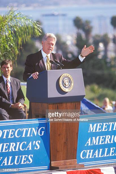 Former President Bill Clinton speaks at a Santa Barbara City College campaign rally in 1996 Santa Barbara California