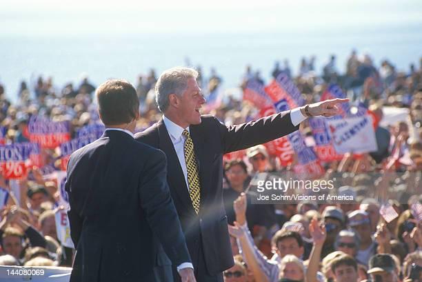 Former President Bill Clinton speaks at a Santa Barbara City College campaign rally in 1996 Santa Barbara California